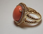 Coral Ring with .64Ct Diamonds Yellow Gold 14K 10.8gm Size 7.25 Statement Ring