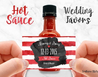 Custom Hot Sauce Favors Personalized Labels & Empty 50 mL Bottles Wedding Favors Waterproof Printed Stickers Engagement Party Favors SS-1056