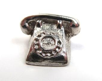 Vintage Silver Plate Miniature Charm Rotary Telephone Phone 1960s