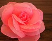 Hair Clip:   CORAL PEACH Glitter Rose Alligator Clip - With Free Headband