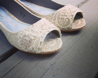 Wedding Shoes - French Knotwork Lace Peep Toe Flats - Pearls and Crystals - Ivory/White/Golden Brocade