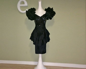 Vintage 1980s Prom Dress Dynasty Black Taffeta HUGE Ruffle Puff Sleeves Double Peplum Formal 80s Party Dress Sequins Huge Shoulders Small