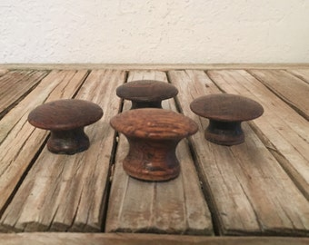 Vintage Set of Oak Wood Knobs