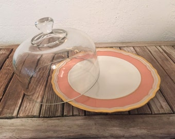 Vintage Glass Cloche with Lenox Plate