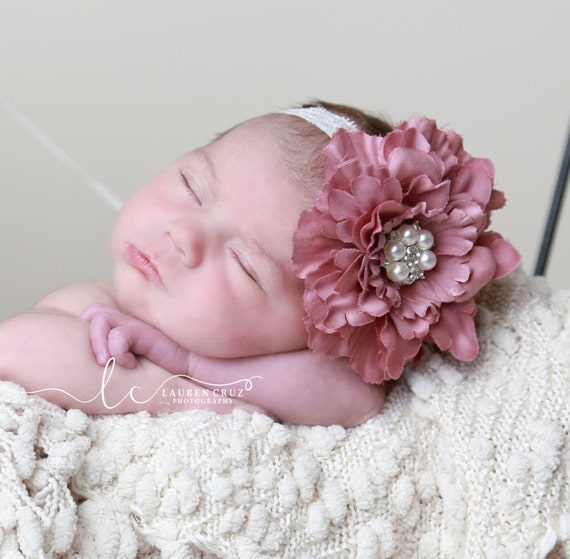 Vintage Rose Peony and Pearls Headband for all ages, pretty vintage pink, adorable for newborn photo shoots, by Lil Miss Sweet Pea Boutique