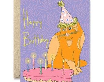 Cat birthday card- fish cake card- purple cat birthday card