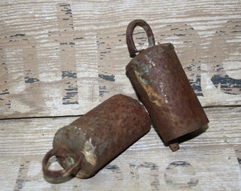 Rusty Bells - Set of Two -  Rustic Wedding Decor - Man Cave - Vintage Decor