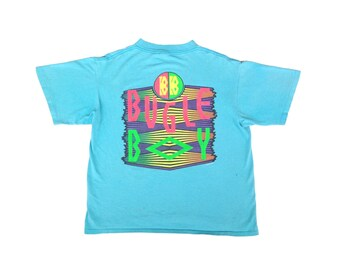 Distressed 80s Neon Bugle Boy T-Shirt - S