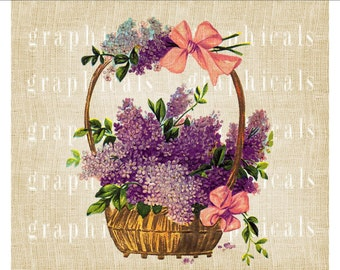 Lilac basket instant graphic clip art Digital download image for Iron on fabric transfer burlap decoupage pillow card tote bag No 2255