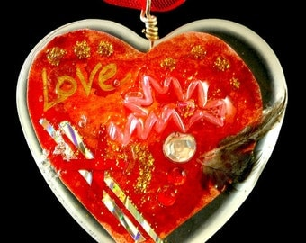 "Heart Shaped Epoxy Resin Pendant - ""Love"""