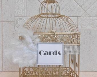 Vintage 1920's Style Wedding Birdcage Card Holder / Wedding Card Box / Wedding Decor / Great Gatsby Wedding / Champagne Gold Birdcage