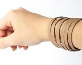 Leather Bracelet / Original Sliced Cuff / Ascot