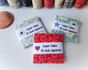 Miniature Layer Cake Packs 1:12 scale, Miniature Fabric Squares One inch scale