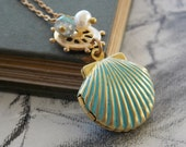 Shell Locket Charm Necklace, Vintage Brass Helm, Aquamarine and Pearl Charm, Vintage Chain, Whimsical, Nautical, Child Gift, Bridesmaid Gift