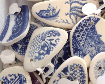 Blue willow ware pendants 3 pc