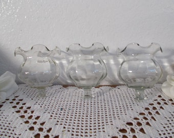 Vintage Clear Glass Candleholder Votive Tea Light Mid Century Beach Cottage French Country Farmhouse Romantic Southern Home Decor Sconce