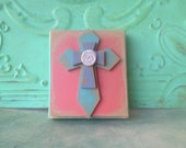 Small Cross Accent Sign, Gallery Wall Sign Decor, Coral and Sea Green Cross Hanger
