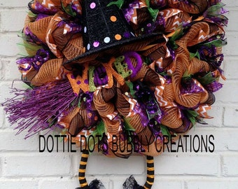Wicked Witch, Halloween Jute Mesh Witch Wreath
