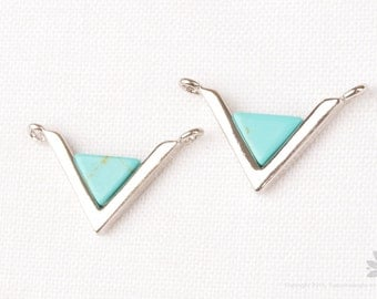 P774-R-TQ// Rhodium Plated Turquoise Inverted Triangle Pendant, 2 pcs