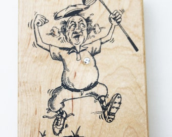 Diamonds Rubber Stamps Golf Expression #F691 RARE Retired Diamonds 1997 Wood mounted Fathers Day gift