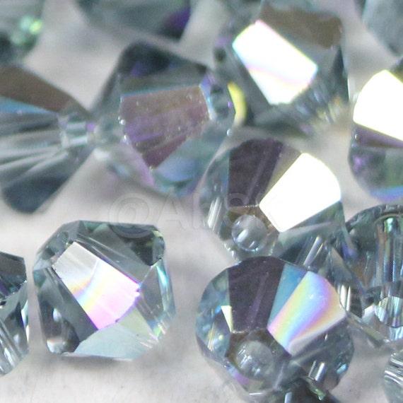 Swarovski Elements Crystal 5328 5301 4mm Xillion Bicone Beads INDIAN SAPPHIRE AB - Select Quantity