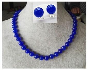 jade set- 10 mm blue jade necklace & earrings set