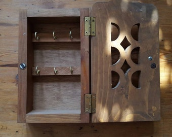 Vintage Wooden Hinged Key/Jewelry Box Ready to Hang