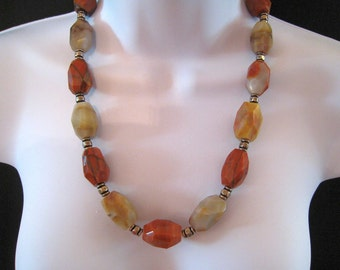 Oyster Opal Agate Nugget Bead Necklace - Colors Of Rusts, Browns, Creams. Oranges - Beautiful Beads - Sterling Clasp - #114