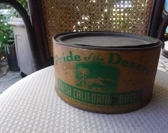 Pride of the Desert Fresh California Dates Packed by S Castorina, LA 43, Calif.USA  Tin