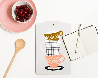 Cups Cutting board, illustration by Depeapa, cups lover, illustrated cutting board, modern style kitchen, gift, kitchen decor, pastel colors