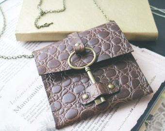 Steampunk bag, Vintage skeleton key pouch, medicine bag. Boho style, boho chic. Genuine leather Cardholder, key closure