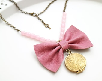Leather pink bow necklace. Spring accessories. Golden locket. Genuine leather bow pendant. Rose Quartz beads. Bohochic