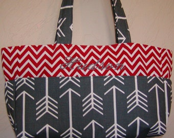 Diaper bag, handbag, purse, book bag..Charcoal Arrows N Red Chevron..Customize to match your carseat canopy(see fashionfairytales).