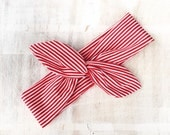 Red and white stripe tie up headband Pin up Rockabilly Kawaii