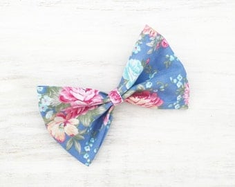 "Blue with pastel floral print 4"" Pin up Hair Bow clip"