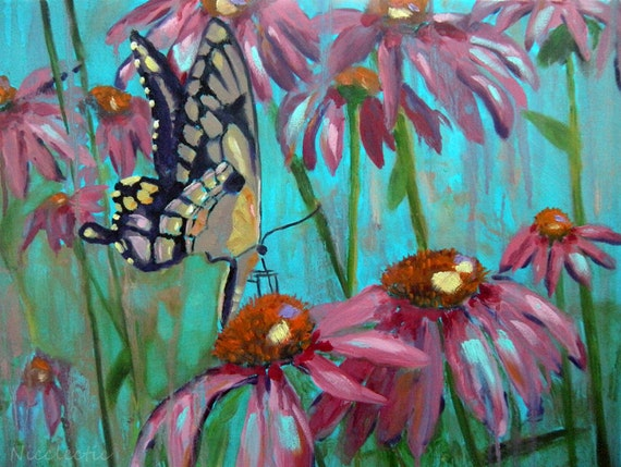 Yellow butterfly, ORIGINAL oil painting on canvas, Butterfly on Echinacea, garden art, pink flowers, spring, gifts for mom monarch wings