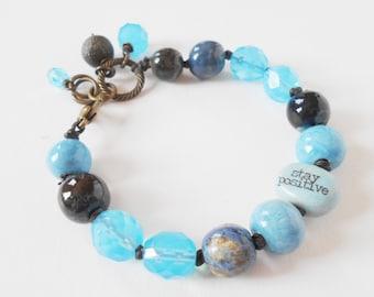 blue bead bracelet, boho quotation bracelet, unique knotted bracelet, aqua rustic inspiration bracelet, stacking bracelet, gift for her