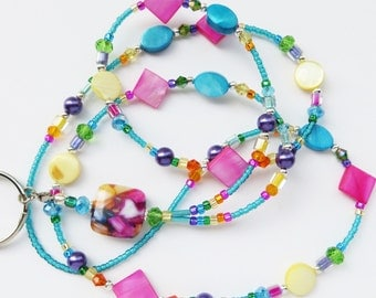 VIBRANT SUMMER- Beaded ID Lanyard- Mother of Pearl Beads, Glass Pearl Beads, and Sparkling Crystals (Comfort Created)