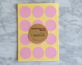 Pastel Pink Paper Seal Stickers - 3cm round Label Sticker Seals - 72 Blank Seals