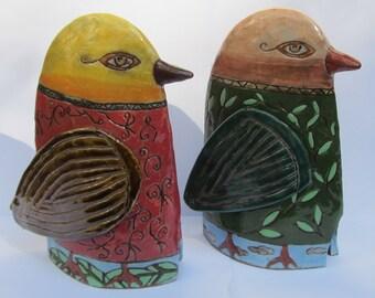 ceramic bird (set of 2); ceramic sculpture; ceramic art; ceramics and pottery;