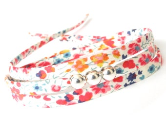 Dainty bead bracelet with colourful spring flower pattern, Liberty Phoebe fabric, pretty cord bracelet with silver beads