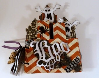 Halloween Premade Mini Album, mini scrapbook album, Haunted Castle photo album, chipboard album, handmade mini album, scrapbook album