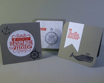 Love Notes with envelopes, set of 3, Mini cards, sailor best mate cards, adult lunch box notes, masculine cards, hand stamped cards
