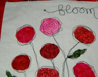 Roses or Poppies Banner Thread Sketching Whimsical Wall Hanging  Machine Scribble Embroidery Appliqued Flag OOAK Canvas Primitive Wall Art