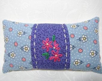 Pin Cushion Pin Keep Fabric Pin Holder Sewing Notions 40s Reproduction fabric Blue Pink Sewing Notions Crushed English Walnut Shell Filling