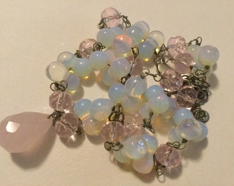 Pink and Opaline Glass Bead Necklace