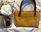 Natural Cork Handbag - Yellow CORK Fabric