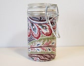 Small Glass Stash Jar : Latch-Top Jar - Country Kitchen Paisley