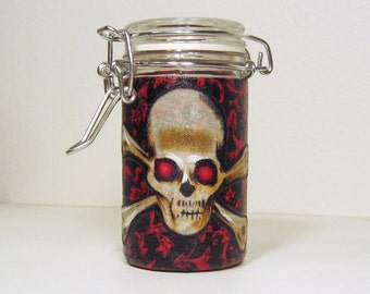 Small Glass Stash Jar : Latch Top Jar - Skull and Crossbones, Evil Red Eyes