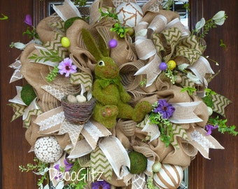 Burlap EASTER Wreath with MOSS BUNNY